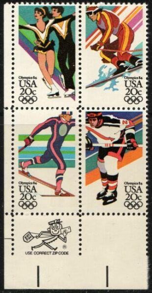 US Stamp #2067-70 MNH – '84 Winter Olympics ZIP Block / 4