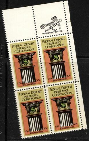 US Stamp #2071 MNH – F.D.I.C. – ZIP Block / 4