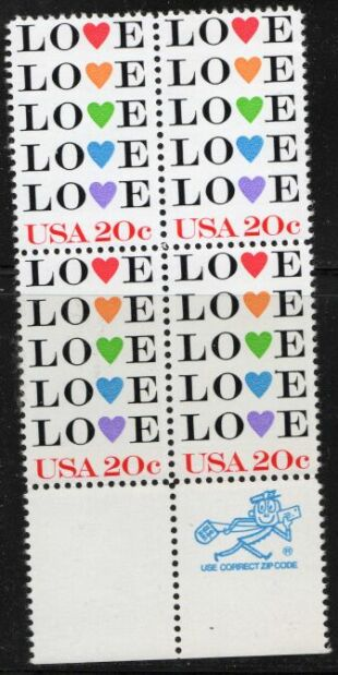 US Stamp #2072 MNH – LOVE – ZIP Block / 4