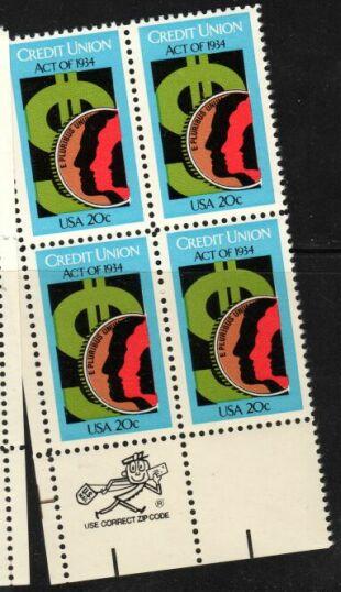 US Stamp #2075 MNH Credit Unions ZIP Block / 4