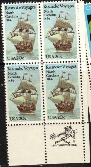 US Stamp #2093 MNH Roanoke Voyages ZIP Block / 4