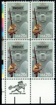 US Stamp #2096 MNH Smokey the Bear ZIP Block / 4