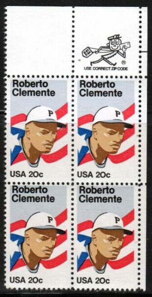 US Stamp #2097 Roberto Clemente ZIP Block / 4