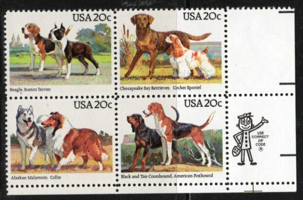 US Stamp #2098-2101 DOGS Se-Tenant ZIP Block / 4