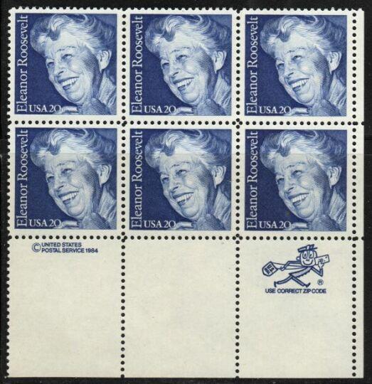 US Stamp #2105 MNH Eleanor Roosevelt ZIP/MI Block / 6