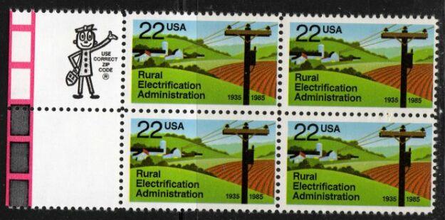 US Stamp #2144 MNH Rural Electrification ZIP Block / 4