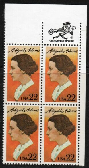 US Stamp #2146 MNH Abigail Adams ZIP Block / 4