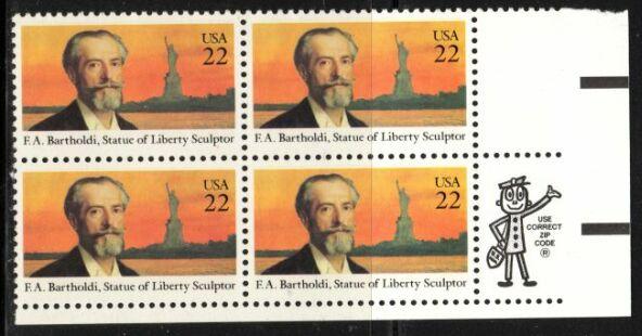 US Stamp #2147 MNH Frederic Bartholdi ZIP Block / 4