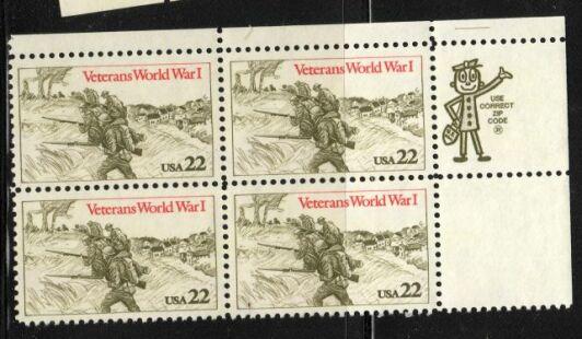 US Stamp #2154 MNH Veterans of WWI ZIP Block / 4