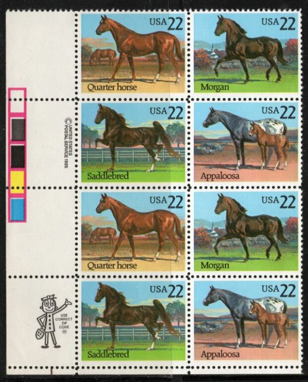 US Stamp #2155-8 MNH Horses Se-Tenant ZIP/MI Block / 8