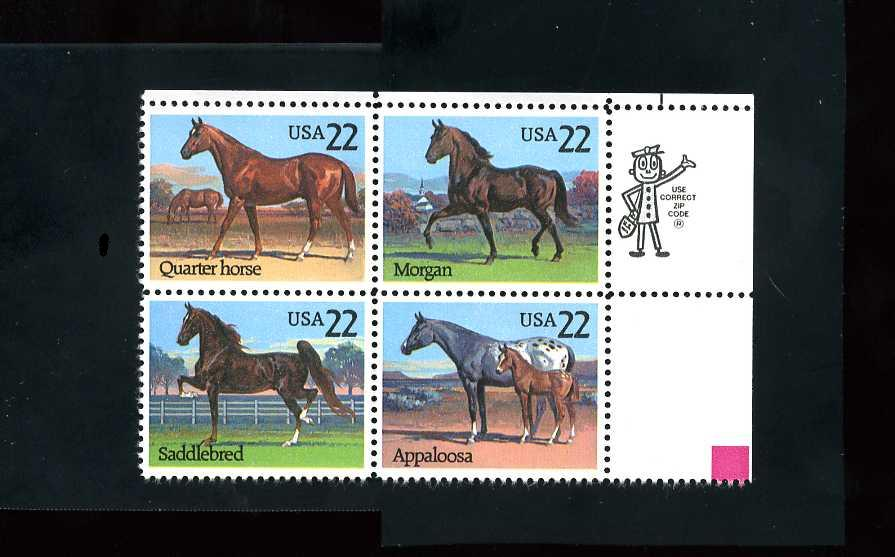 US Stamp #2155-8 MNH Horses Se-Tenant ZIP Block / 4