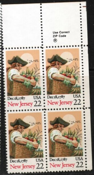 US Stamp #2338 MNH Ratification by New Jersey ZIP Block / 4