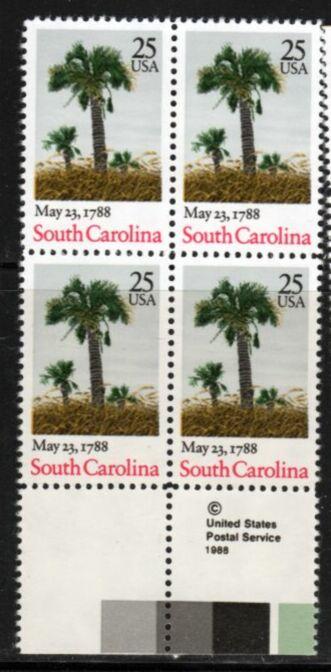 US Stamp #2343 MNH Ratification South Carolina ZIP Block / 4