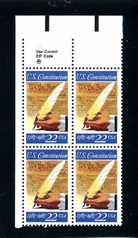 US Stamp #2360 MNH – Signing the Constitution ZIP Block of 4