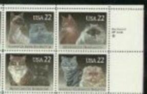 US Stamp #2372-5 MNH – CATS Se-Tenant ZIP Block of 4