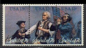 US Stamp #1629-1631 MNH Bicentennial SeTenant Block of 3