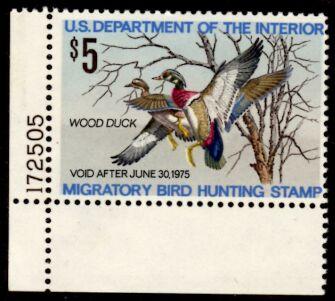 US Scott #RW41 MNH – Pair Wood Ducks Taking Flight Plate Number Single