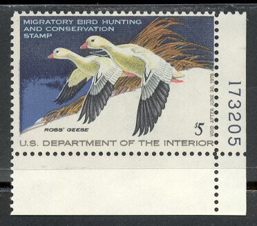 US Scott #RW44 MNH – REGAL Ross' Geese in Flight Plate Number Single