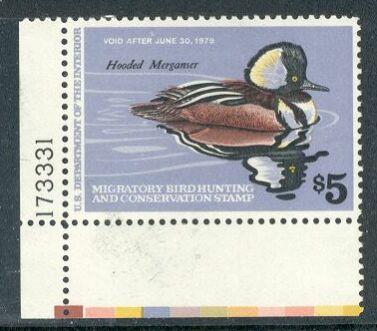 US Scott #RW45 MNH – SUPER Hooded Merganser Drake Plate Number Single