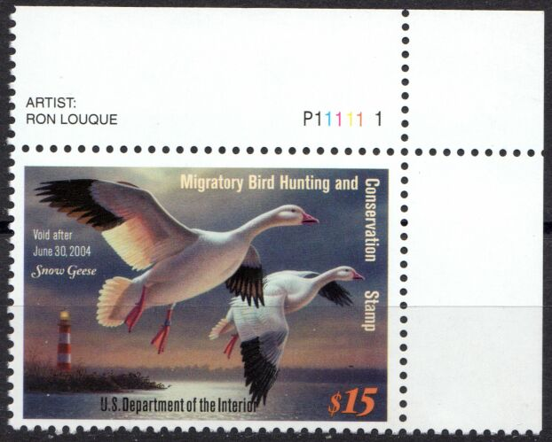 US Scott #RW70 MNH Snow Geese and Lighthouse Plate Number Single