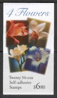 US Stamp #BK284 MNH – 4 Flowers Booklet