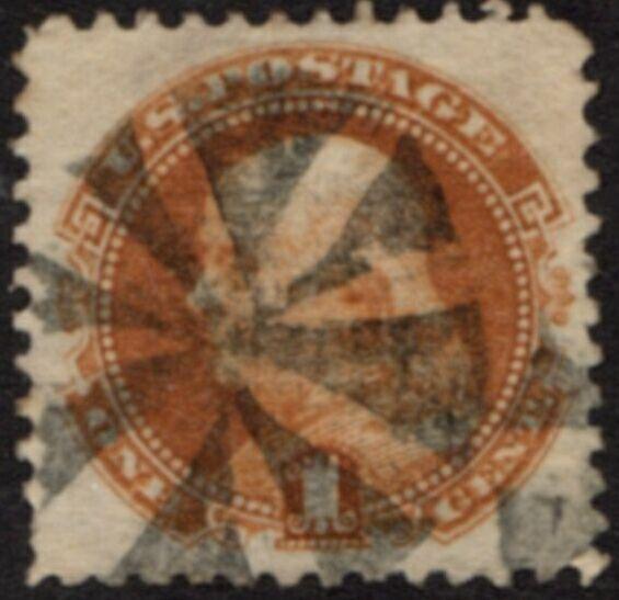 US Stamp # 112 Benjamin Franklin Pictorial w/ Fancy Cancel