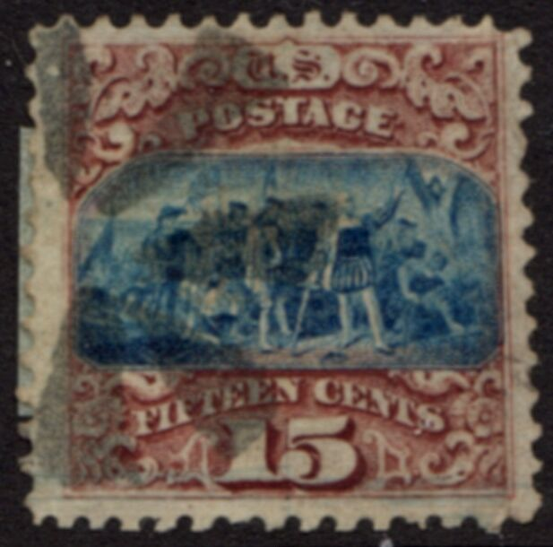US Stamp # 118 – Landing of Columbus – 1869 Pictorial w/ Fancy Cancel