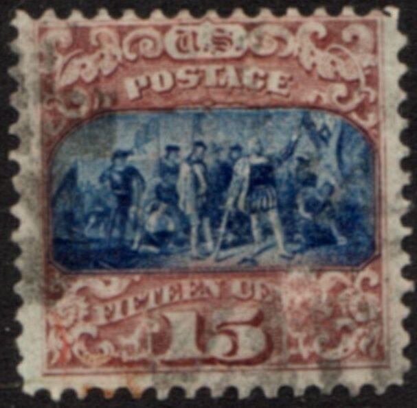 US Stamp # 119 – Landing of Columbus – 1869 Pictorial w/ Fancy Cancel