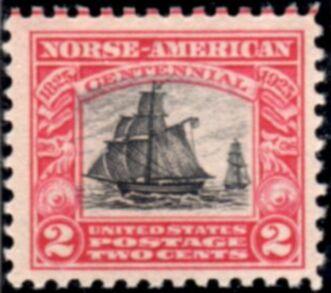 "US Stamp # 620 MNH – Norse-American – Sloop ""Restaurationen"""