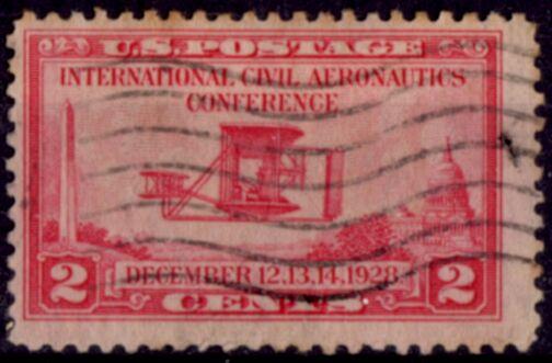 US Stamp # 649 – Aeronautics Conference – Wright airplane
