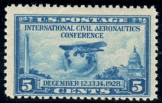 US Stamp # 650 MLH – Aeronautics Conference – Globe and Airplane
