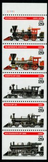 US Stamp #2847a – Steam Engines – UNFOLDED/UNBOUND Booklet Pane of 5
