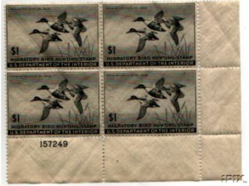 US Scott #RW12 MNH SUPER Shoveller Ducks in Flight – Block of 4 w/ Plate No.