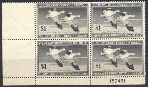 US Scott #RW14 MNH SUPER Snow Geese in Flight Block of 4 w/ Plate No.