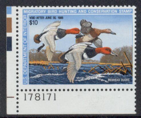 US Scott #RW54 MNH – Trio of Red-Head Ducks Plate Number Single