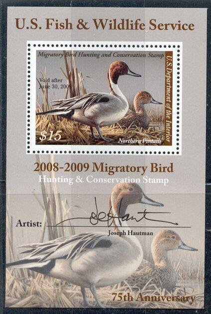 US Scott #RW75b MNH – Northern Pintails Souvenir Sheet Signed by Artist