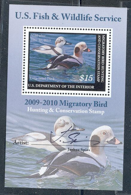 US Scott #RW76b MNH – Long-Tailed Ducks Souvenir Sheet Signed by Artist