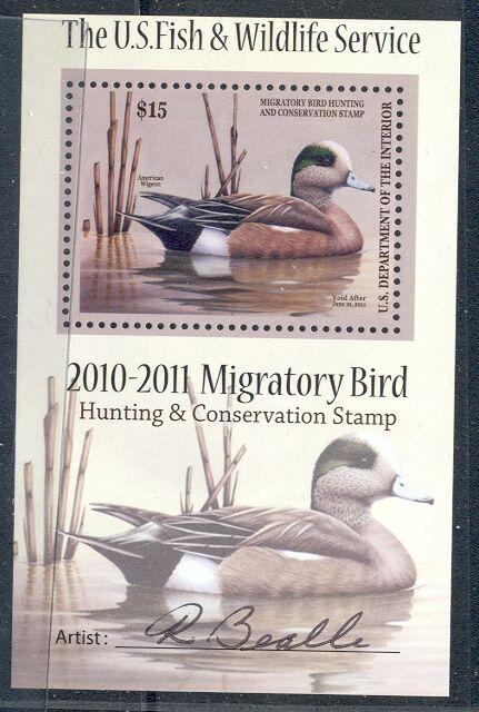 US Scott #RW77b MNH – American Wigeon Souvenir Sheet Signed by Artist